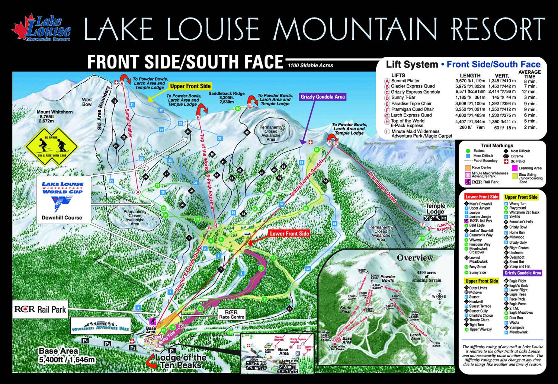 Map Of Canada Lake Louise.Lake Louise Good Ski Guide