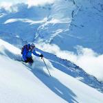 Female skiing off piste in Sainte Foy.                          pic Mark Junak