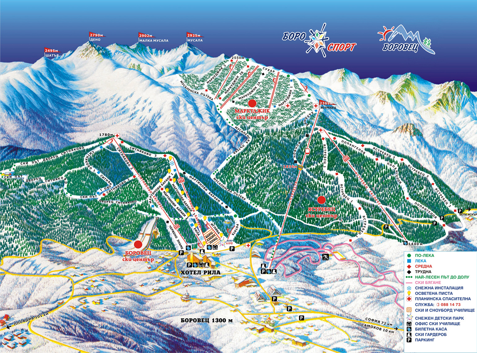 Borovets Ski Map Borovets Piste Map Large  High res | Good Ski Guide Borovets Ski Map
