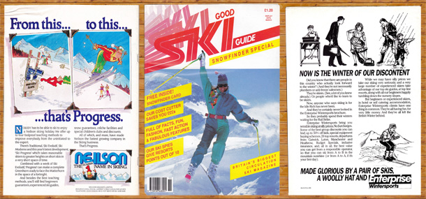 Typical 80's ski adverts and a cover price of only £1.20
